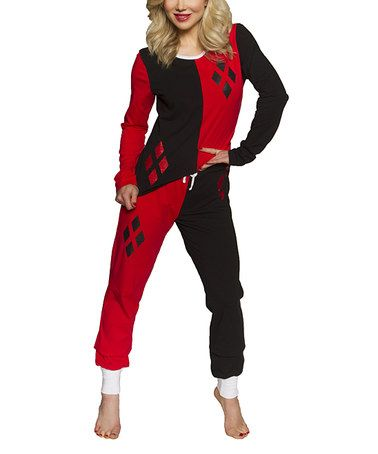 Take a look at this Red & Black Harley Quinn Pajama Set - Women on zulily today!