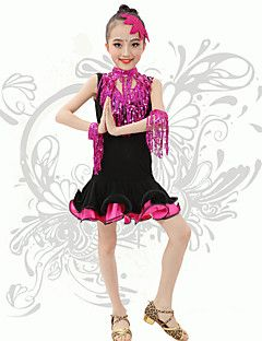 Latin Dans Kjoler Børne Ydeevne Spandex Pallietter / Frynsetip(s) 1 Stykke Ærmeløs Naturlig Kjoler S:60cm,M:61cm,L:62cm,XL:64cm – DKK kr. 500