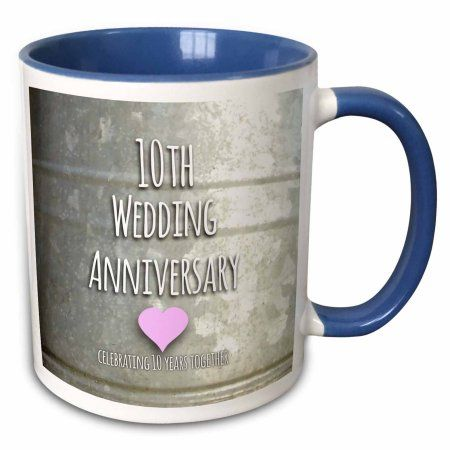 3dRose 10th Wedding Anniversary gift - Tin celebrating 10 years together - tenth anniversaries ten yrs - Two Tone Blue Mug, 11-ounce, White