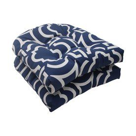 Pillow Perfect Carmody Navy Geometric Seat Pad For Universal 500805