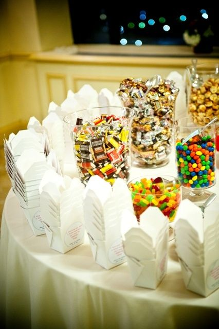 Candy buffet. I have to do this! @ wish-upon-a-weddingwish-upon-a-wedding