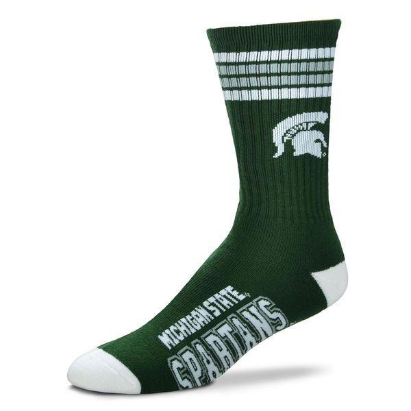 Men's Michigan State Spartans For Bare Feet Green 4-Stripe Deuce Performance Crew Socks