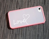 Grey and White Monogrammed Custom Insert with Pink Bumper Case for iPhone 4 And 4s - unique iphone case, your name, initial, hearts