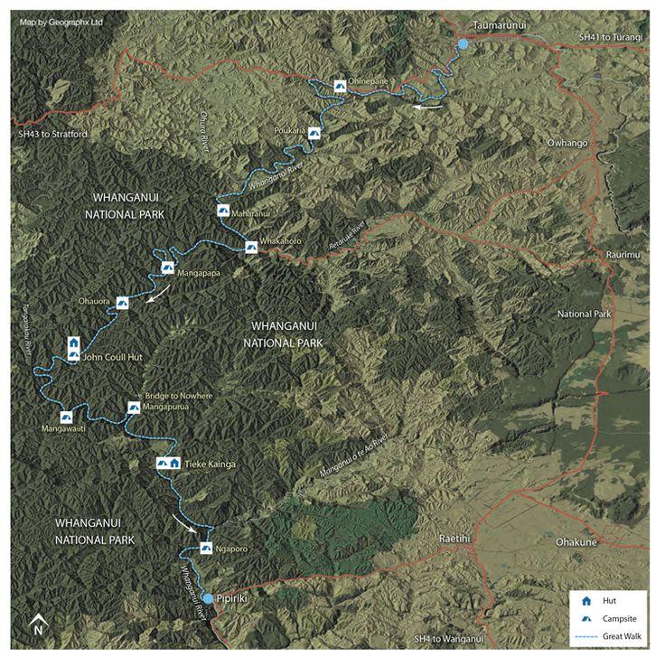 Whanganui Journey @ Whanganui River (5 day kayak trip / ~145km): Day 1, Cherry Grove, Taumarunui -> Poukaria Campsite, 36 km Day 2, Poukaria Campsite -> Mangapapa Campsite, 32 km Day 3, Mangapapa Campsite -> John Coull Hut, 37 km Day 4, John Coull Hut -> Tieke Kainga Hut, 30 km Day 5, Tieke Kainga Hut -> Pipiriki, 20 km