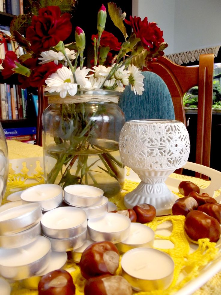 candles, flowers, autumn treasures