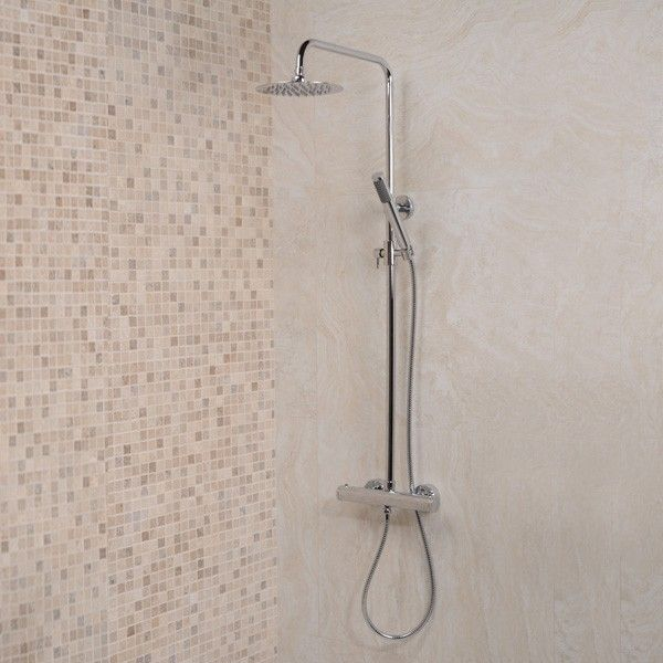 Minimalist Ultra Thin 200 Round Dual Kit Riser Pack, priced at £180.95. The minimalist Ultra thin 200 dual kit riser pack is modern design and cost effective showering at it's best. The dual flow thermostatic bar valve operates both the 200mm Ultra thin round shower head and the fashionably slim riser rail handset. Order now at - http://www.taps.co.uk/minimalist-ultra-thin-200-round-dual-kit-riser-pack.html