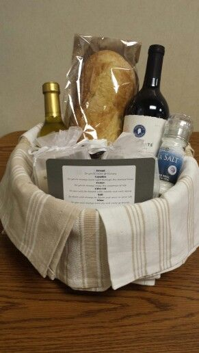 Traditional housewarming gift. Instead of tissue paper, use kitchen towels to line the basket. Traditional housewarming gift: Bread so you'll never go hungry. Candles so you'll always have light through the darkest times. Honey so you'll always enjoy the sweetness of life. Olive Oil so you will be blessed with health and well-being. Salt so there will always be flavor and spice in your life. Wine so you will always have joy and never go thirsty.
