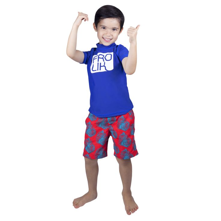 Frolik Rash Vest with Shell Swim Shorts. Available at www.frolikbeachstyle.com in sizes 2-3, 4-5, 6-7 and 8-9yrs.