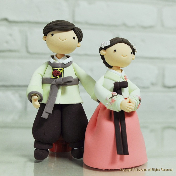 han book korean wedding dresses  | Korean Hanbok custom wedding cake topper Decoration Gift - cute couple ...