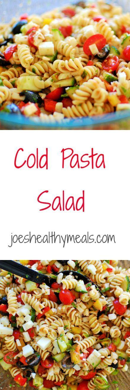Cold pasta salad - super easy but delicious salad recipe!   joeshealthymeals.com