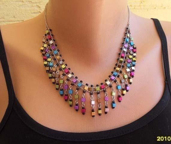 multicolored square beaded necklace