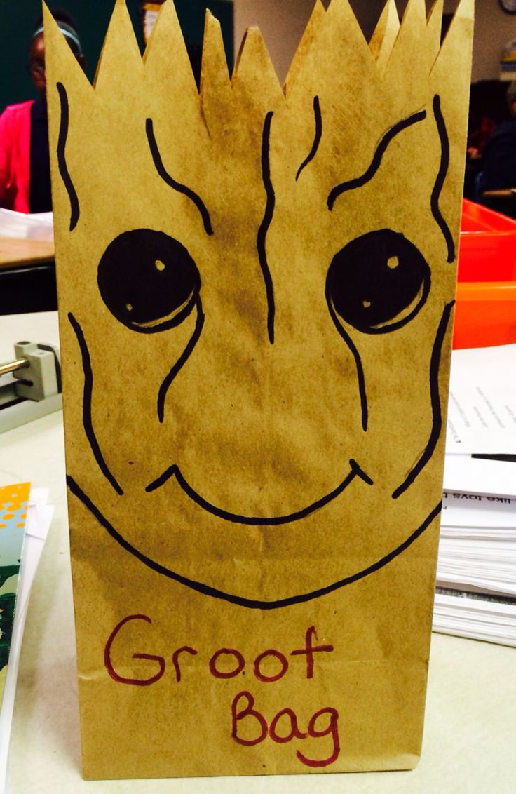 Groot bags for my daughter's Guardians of the Galaxy birthday party.