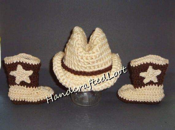 Crochet Newborn Baby Cowboy Hat & Boots Photo by HandcraftedLoot