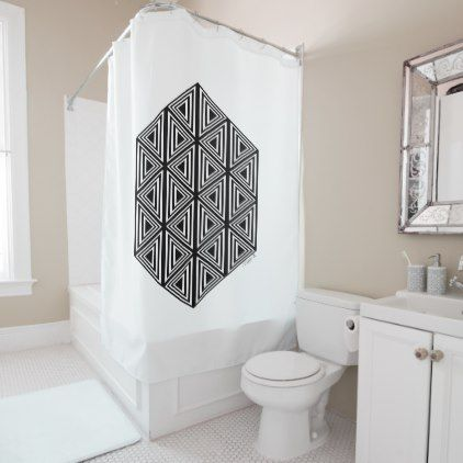 Black And White Geometric Triangles Minimalist Shower Curtain - black and white gifts unique special b&w style