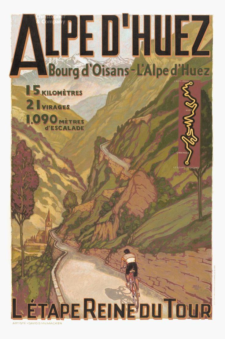 Bicycle Art: 'Alpe D'Huez' vintage poster >> more posters, books, photos, film, etc