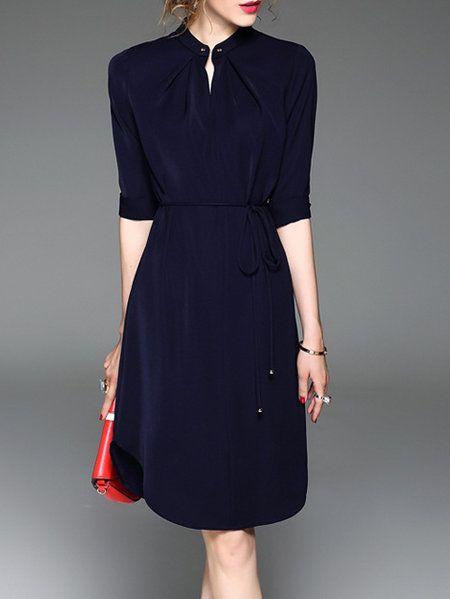 Shop Midi Dresses - Navy Blue Slit Crew Neck Half Sleeve Midi Dress online. Discover unique designers fashion at StyleWe.com.