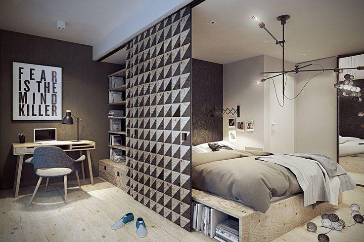 Warszawa / Praga, mieszkanie dwupoziomowe 62m2 : Skandynawska sypialnia od razoo-architekci