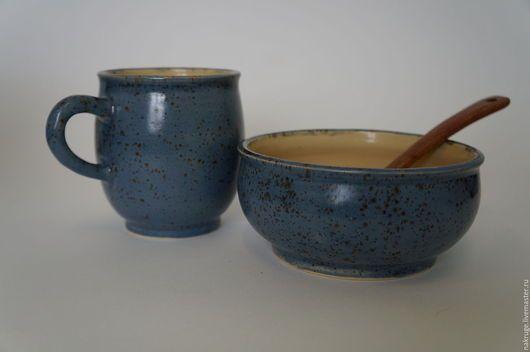 Кружки и чашки ручной работы. Керамическая посуда - набор для завтрака. На круге сваяв. Ярмарка Мастеров. Набор для завтрака, синий