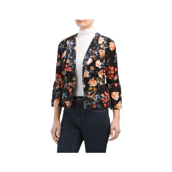 Juniors Printed Velvet Blazer ($20) ❤ liked on Polyvore featuring outerwear, jackets, blazers, velvet blazer, stretch blazer, floral jacket, flower print blazer and floral blazer jacket