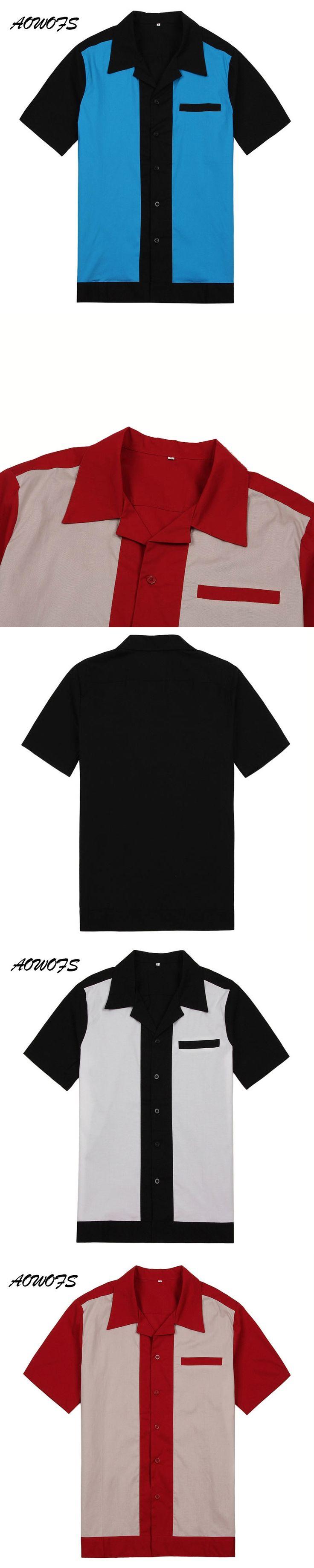 AOWOFS Rockabilly Men Western Cowboy Shirts Men Short Sleeve Black Shirts Vintage Button Rockabilly Shirts Men Cargo Uniforms