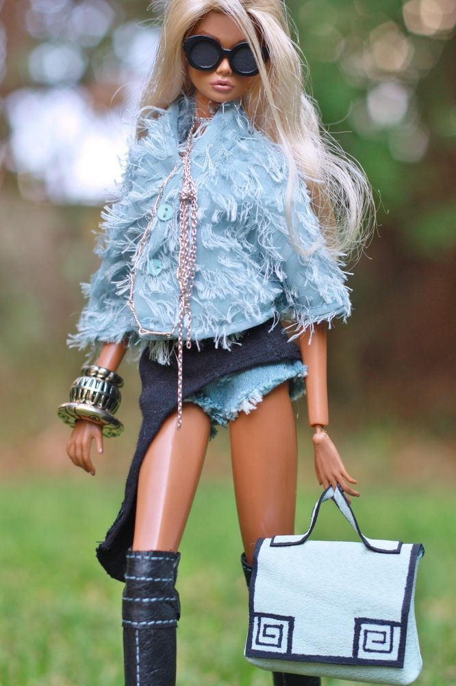 fashion royalty,fr2,CI dollsalive Blue my Black OOAK outfit, leather shoes ,bag