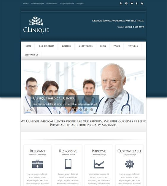 This medical WordPress theme features a responsive layout, slider, gallery, and members managers, Google Fonts, a visual form builder, five custom widgets, 15 shortcodes, easy color, font, and background customization, and more.