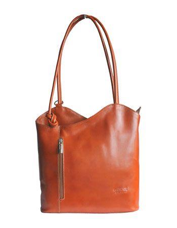 Multi-Way Tan Leather Shoulder Bag/Backpack