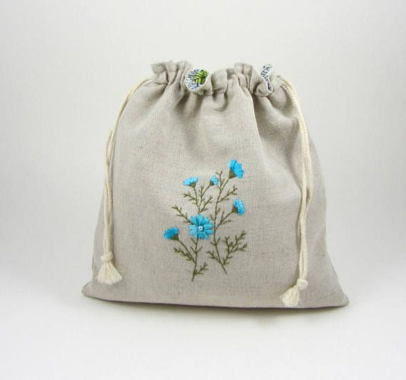 193c039cb55 Embroidered linen bag, drawstring bag, hand embroidery, project bag ...