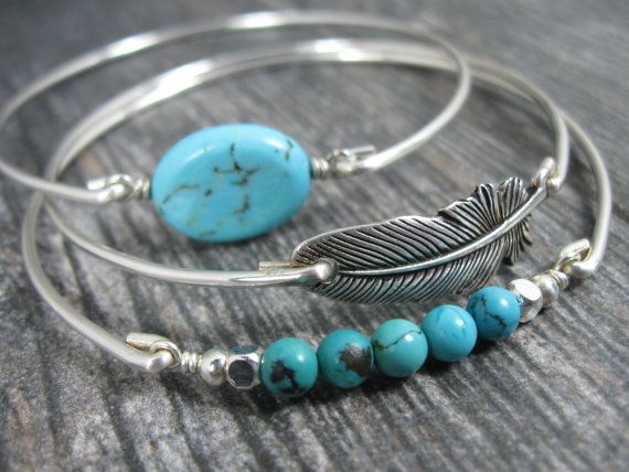 Bangle Bracelet - Beautiful Western style Bangle set in Silver tones with Natural Turquoise beads and oval and a Silver Tone Feather. Sturdy yet