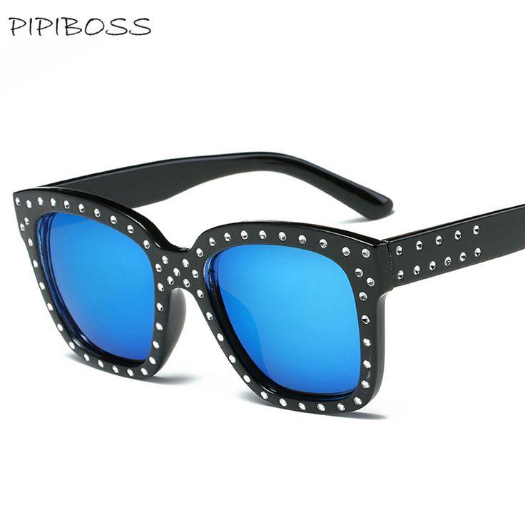 PIPIBOSS steampunk Sunglasses Men Women uv400 Mirror Sunglasses rivet Diamond Sunglasses gafas retro #Affiliate