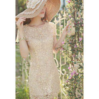 Elegant Scoop Neck Openwork Floral Embroidery Faux Pearl Embellished Short Sleeves Silk Women's Dress