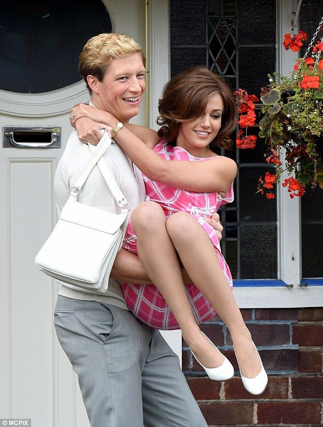 Throwback: On Saturday actress Michelle Keegan looked every inch the 1960s houswife as she continued to film scenes for Tina and Bobby with her co-star Lorne MacFadyen