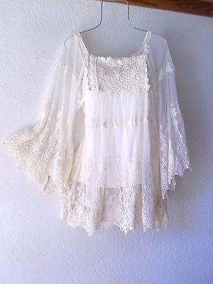 NEW~$98~Ivory Crochet Lace Vintage Peasant Blouse Boho Shirt Top~4/6/8/S/Small