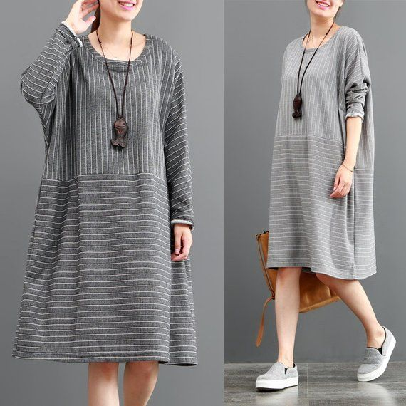 Autumn cotton dress long sleeve tunic dress stripe dress maxi dress plus size clothing knee dress wo