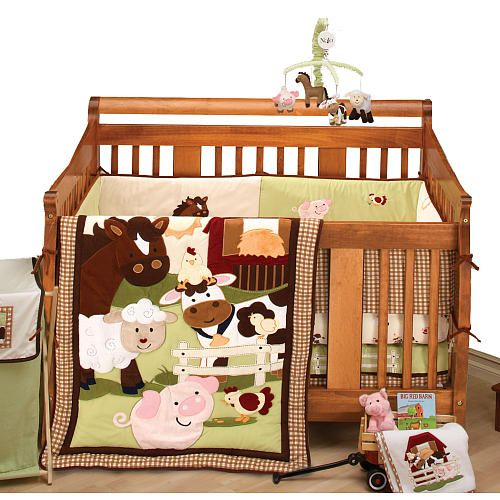 A barnyard full of fun with NoJo Farm Babies 5-Piece Crib Bedding Set from NoJo
