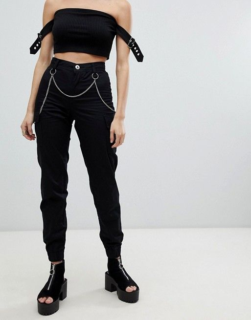 5d834ea46eda One Above Another | One Above Another cuffed cargo pants with chain detail