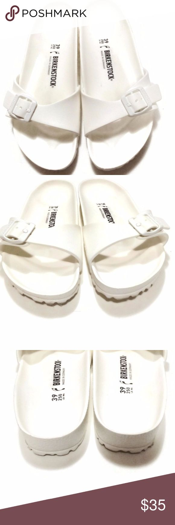 Birkenstock White Rubber Sandals Flip Flop Sz 39 9 In overall excellent condition. Some wear on insoles and soles. Narrow width.  All items are 100% authentic, I do not sell fakes. Birkenstock Shoes Sandals