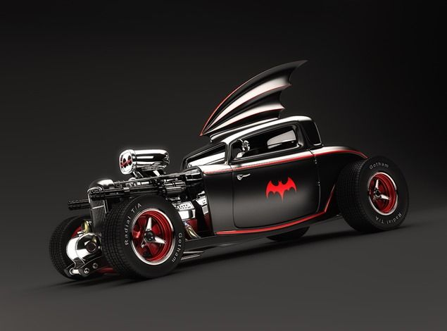 Hot Rod for Batman: Batmobile Hot, Rockabilly Hot, Rats Rods, Batman, 50S Hot, Hot Rods, Hotrods, Black Cars, Rods Batmobile