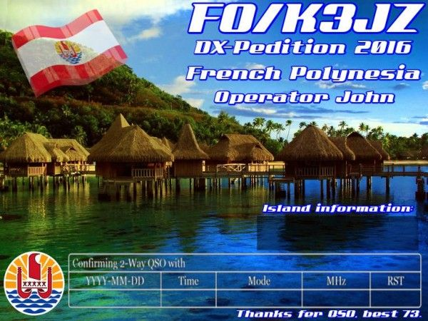 Society Island FO/K3JZ QSL