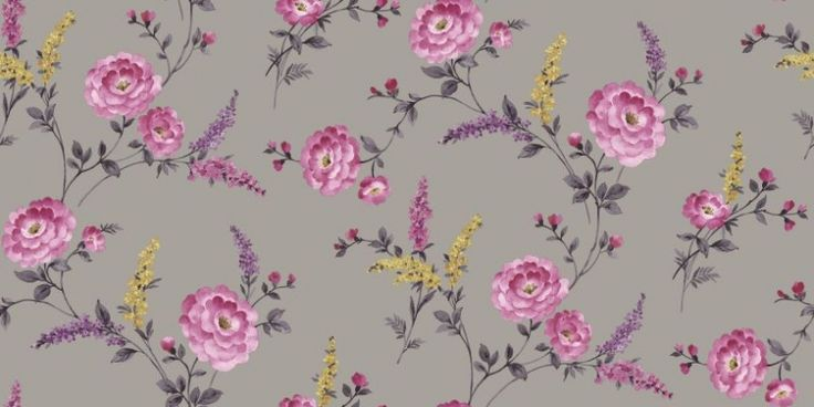 Posie Viola (950900) - Sophie Conran Wallpapers - A pretty retro 1940's feel floral trail with multicoloured flowers. Shown here in pink, yellow and lilac on a soft purple shade background.  Paste the wall. Please request sample for true colour match.