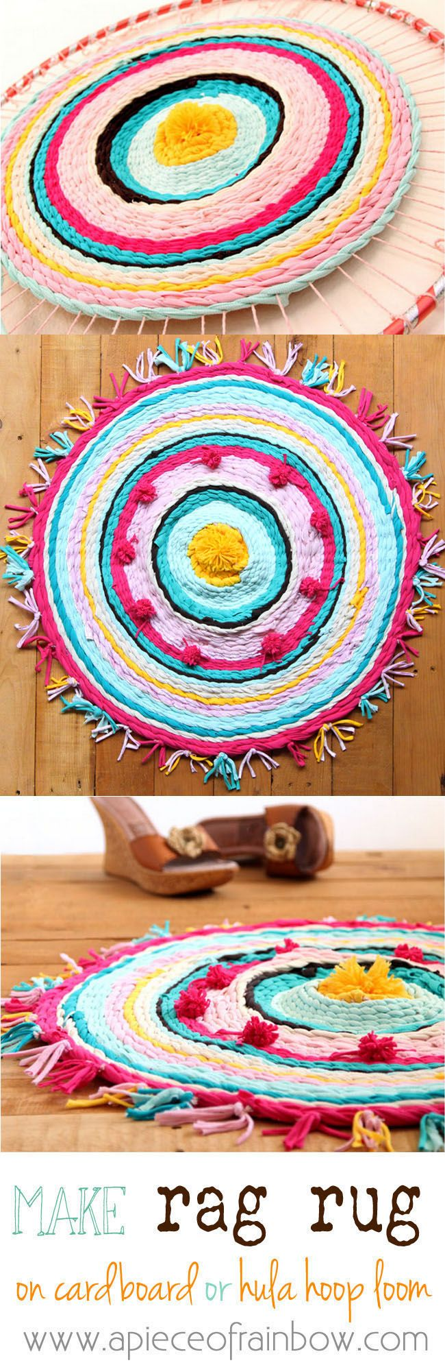 Really fun and detailed tutorial on how to make rag rug from old t-shirts, and how to weave beautiful rugs on a cardboard loom or hula hoop loom!A Piece Of Rainbow