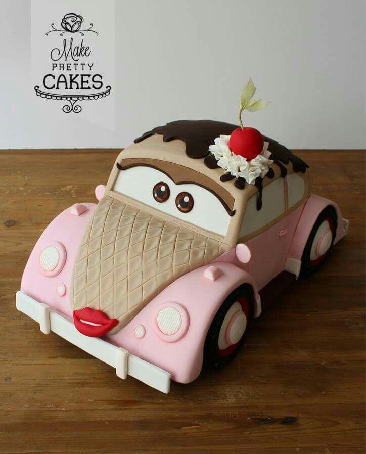 Ice cream cone dressed up VW cake ....sssooo cute