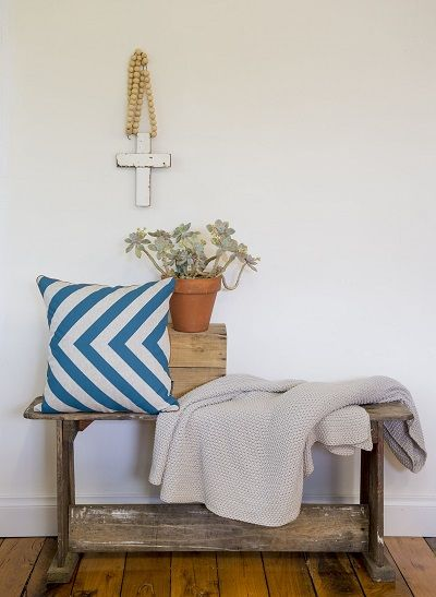 Steel Blue hand screen printed cushion perfect for all seasons by Ivy & Lil
