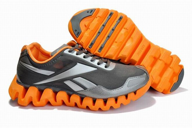 reebok zig pulse grey orange mens trainers