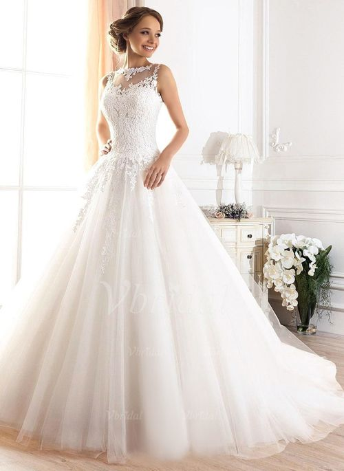 Wedding Dresses - $239.99 - Ball-Gown Scoop Neck Court Train Tulle Wedding Dress With Appliques Lace (0025094091)