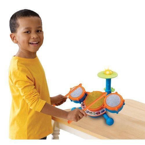 ds learning toy has three drum pads and cymbal each with its own unique sound for sensory development Toddlers can play along to 9 melodies in styles including rock, dance and pop; music toy teaches letters, numbers, and music Kids drum set has 4 modes of play: Free Play, Letters, Numbers, and Follow-Along; each drum features a unique LED light Educational kids toy includes two drumsticks; allow your child to feel like a real drummer