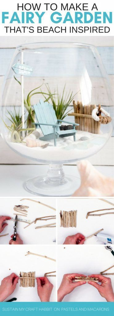 Want to know how to make a fairy garden? Look no further than this DIY fairy garden tutorial idea! Using homemade accessories and air plants you can make the cutest beach fairy garden around!