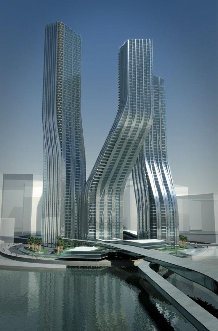 "architecture futuriste par Zaha Hadid - ""Tours dansantes"", Business Bay, Dubaï RINJARD Loïc"
