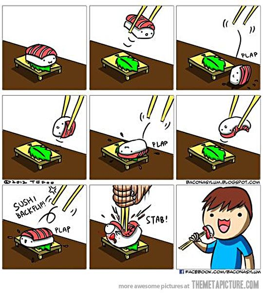 Eating sushi with chopsticks…