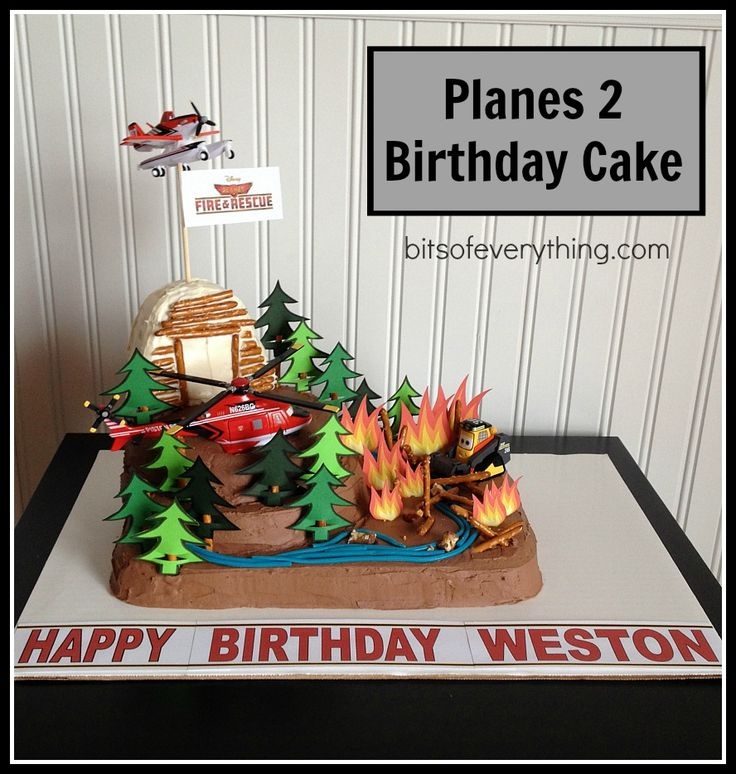 Love this boy's birthday cake idea from the Disney Planes 2 movie!  This post from BitsOfEverything also includes a free printable to make the flames and trees!